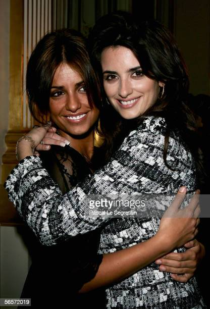Actress Penelope Cruz poses with her sister Monica Cruz after being awarded Knight of the Arts and Letter by French Culture Minister on January 11...