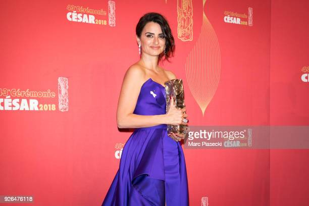 Actress Penelope Cruz poses with the Cesar Honorary Award in the press room during the 43rd Cesar Awards Ceremony at Salle Pleyel on March 2 2018 in...