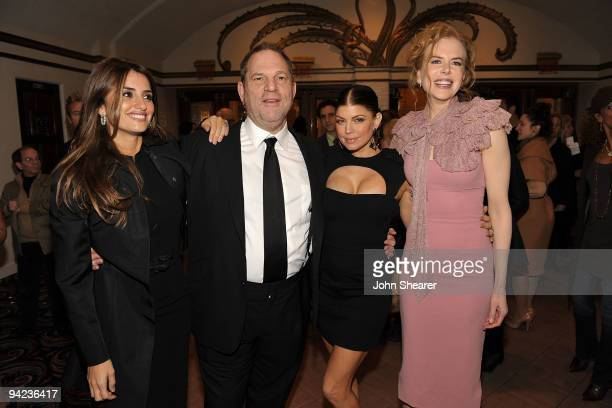 Actress Penelope Cruz producer Harvey Weinstein actress/singer Stacy 'Fergie' Ferguson and actress Nicole Kidman arrive at the Los Angeles premiere...