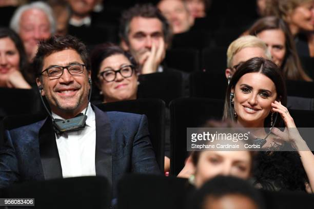 Actress Penelope Cruz wearing jewels by Atelier Swarovski Fine Jewelry actor Javier Bardem attend the Opening Ceremony during the 71st annual Cannes...