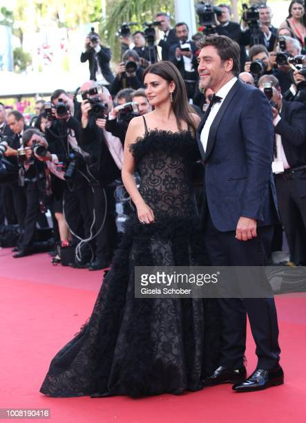 Actress Penelope Cruz wearing jewels by Atelier Swarovski Fine Jewelry and actor Javier Bardem attend the screening of 'Everybody Knows ' and the...