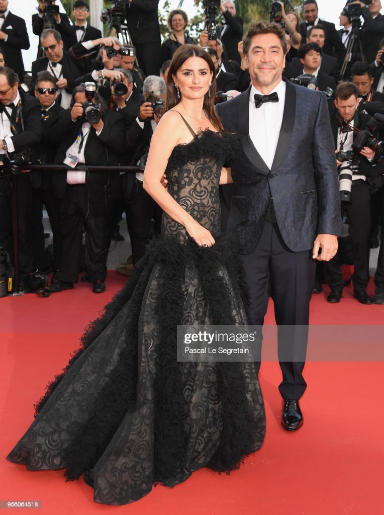 Actress Penelope Cruz, wearing jewels by Atelier Swarovski Fine Jewelry and actor Javier Bardem attend the screening of 'Everybody Knows (Todos Lo Saben)' and the opening gala during the 71st annual Cannes Film Festival at Palais des Festivals on May 8, 2018 in Cannes, France.