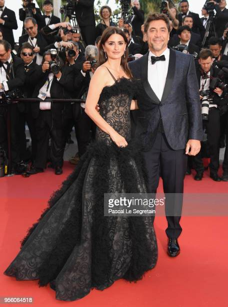 Actress Penelope Cruz wearing jewels by Atelier Swarovski Fine Jewelry and actor Javier Bardem attend the screening of Everybody Knows and the...