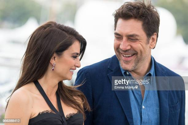 Actress Penelope Cruz wearing jewels by Atelier Swarovski Fine Jewelry and Javier Bardem attend the photocall for Everybody Knows during the 71st...