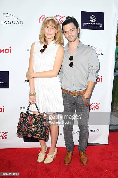 Actress Penelope Mitchell and Peter Harper attend the Accelerate4Change charity event presented by Dr Ben Talei Cinemoi on August 29 2015 in Beverly...