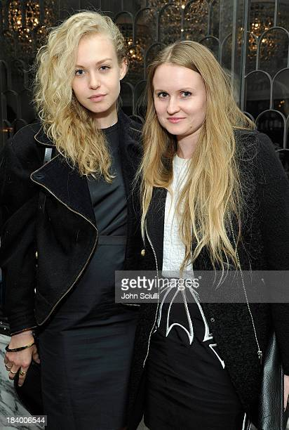 Actress Penelope Mitchell and Stylist Annabelle Harron attend a Tracy Paul dinner for Uno de 50 at Cecconi's Restaurant on October 10 2013 in Los...