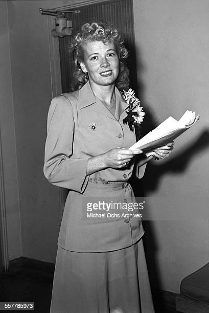 Actress Penny Singleton poses in a hallway in Los Angeles California