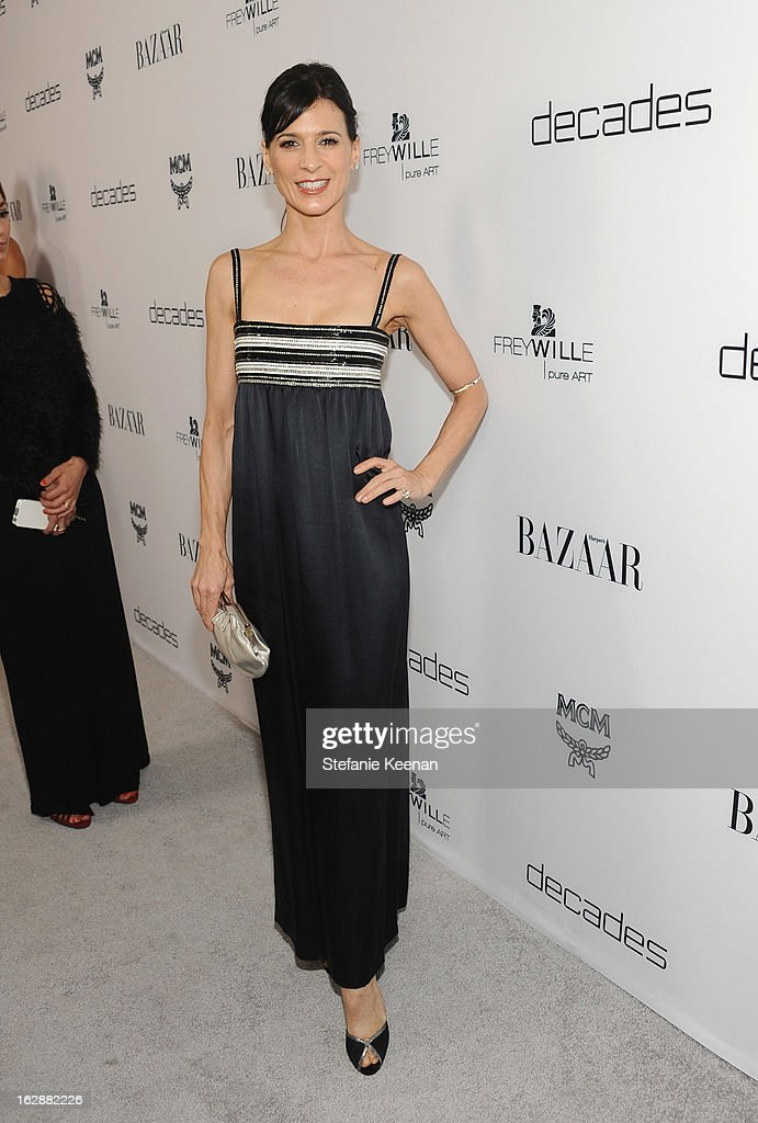 Actress Perrey Reeves attends the Harper's BAZAAR celebration of the launch of Bravo TV's 'The Dukes of Melrose' starring Cameron Silver and Christos Garkinos at Sunset Tower on February 28, 2013 in West Hollywood, California.
