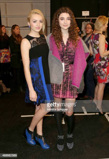 Actress Peyton List and Violet Lepore pose backstage at the Nanette Lepore fashion show during MercedesBenz Fashion Week Fall 2014 at The Salon at...