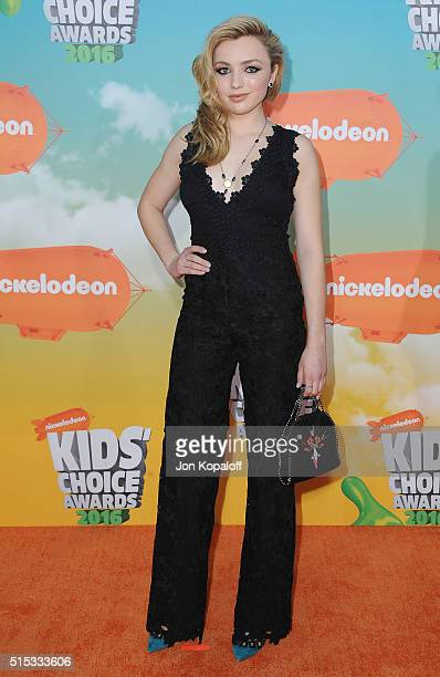 Actress Peyton List arrives at Nickelodeon's 2016 Kids' Choice Awards at The Forum on March 12 2016 in Inglewood California