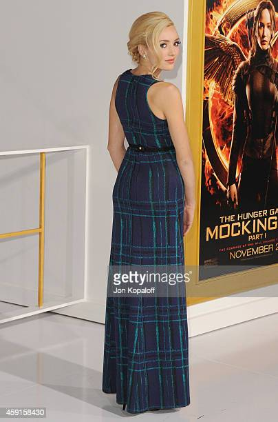 Actress Peyton List arrives at the Los Angele Premiere 'The Hunger Games Mockingjay Part 1' at Nokia Theatre LA Live on November 17 2014 in Los...