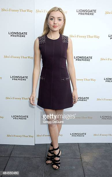 "Actress Peyton List arrives at the premiere of Lionsgate's ""She's Funny That Way"" at Harmony Gold on August 19, 2015 in Los Angeles, California."
