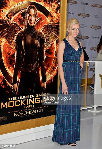 Actress Peyton List attends 'The Hunger Games Mockingjay Part 1' Los Angeles Premiere at Nokia Theatre LA Live on November 17 2014 in Los Angeles...