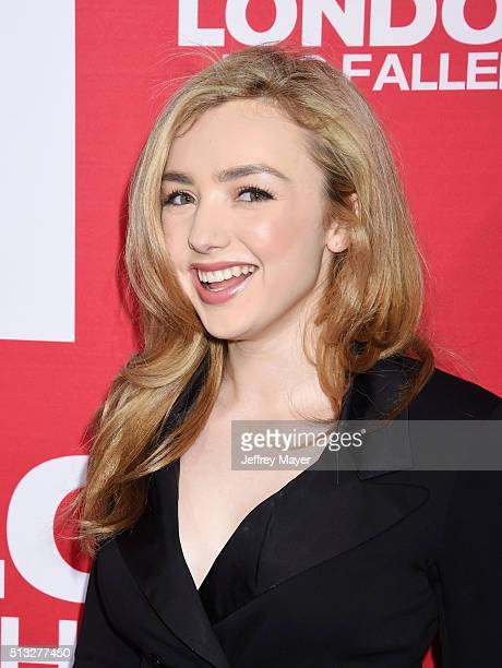 Actress Peyton List attends the premiere of Focus Features' 'London Has Fallen' held at ArcLight Cinemas Cinerama Dome on March 1 2016 in Hollywood...