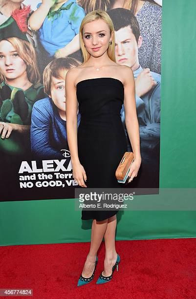 Actress Peyton List attends The World Premiere of Disney's 'Alexander and the Terrible Horrible No Good Very Bad Day' at the El Capitan Theatre on...