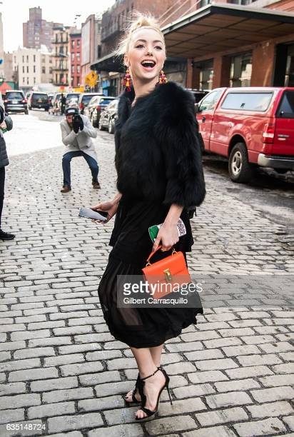 Actress Peyton List is seen arriving to the Carolina Herrera Collection during New York Fashion Week on February 13 2017 in New York City