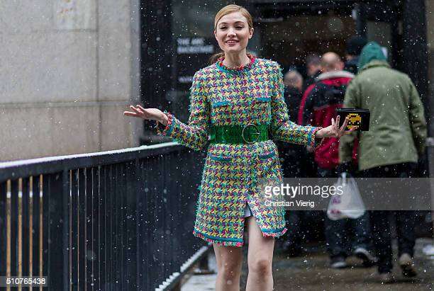 Actress Peyton List seen outside Jeremy Scott during New York Fashion Week Women's Fall/Winter 2016 on February 15 2016 in New York City