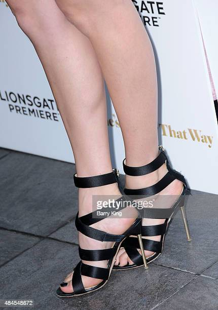 Actress Peyton List shoe detail attends the Los Angeles Premiere of Lionsgate's 'She's Funny That Way' at Harmony Gold on August 19 2015 in Los...
