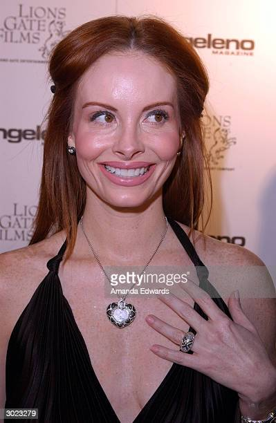 Actress Phoebe Price arrives at the Angeleno Magazine and Lion Gates' preOscar party February 27 2004 at the Skybar in West Hollywood California