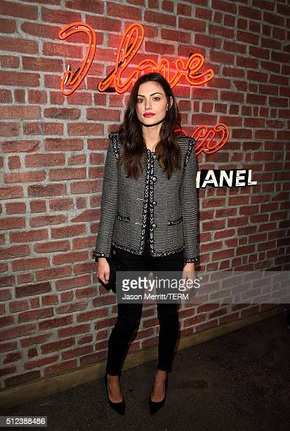 Actress Phoebe Tonkin attends the I Love Coco Backstage Beauty Lounge at Chateau Marmont's Bar Marmont on February 25 2016 in Hollywood California