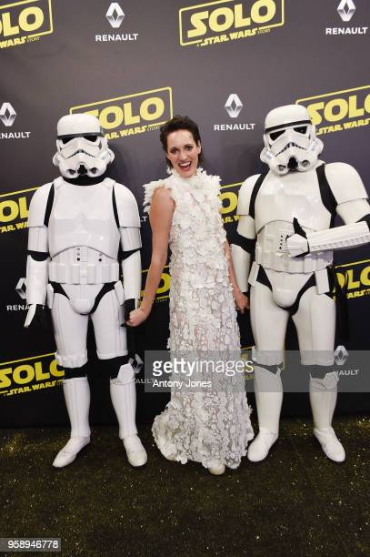 Actress Phoebe WallerBridge and Stormtroopers attend a 'Solo A Star Wars Story' party at the Carlton Beach following the film's out of competition...
