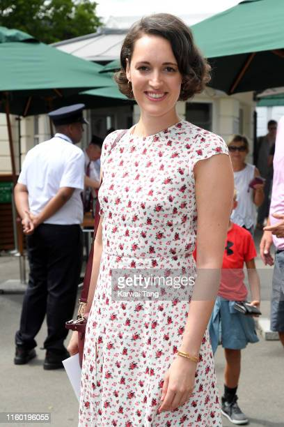 Actress Phoebe WallerBridge attends day five of the Wimbledon Tennis Championships at All England Lawn Tennis and Croquet Club on July 05 2019 in...