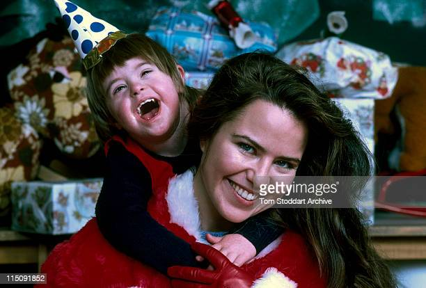 Actress photographer and one time girlfriend of Prince Andrew Koo Stark pictured after dressing up as Santa Claus to entertain kids at a Christmas...