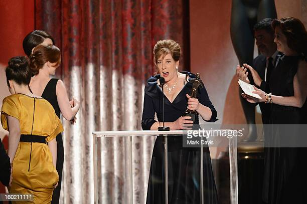 Actress Phyllis Logan accepts the award for Outstanding Performance by an Ensemble in a Drama Series for 'Downtown Abbey' onstage during the 19th...
