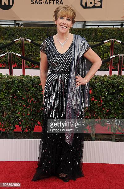 Actress Phyllis Logan arrives at the 22nd Annual Screen Actors Guild Awards at The Shrine Auditorium on January 30 2016 in Los Angeles California