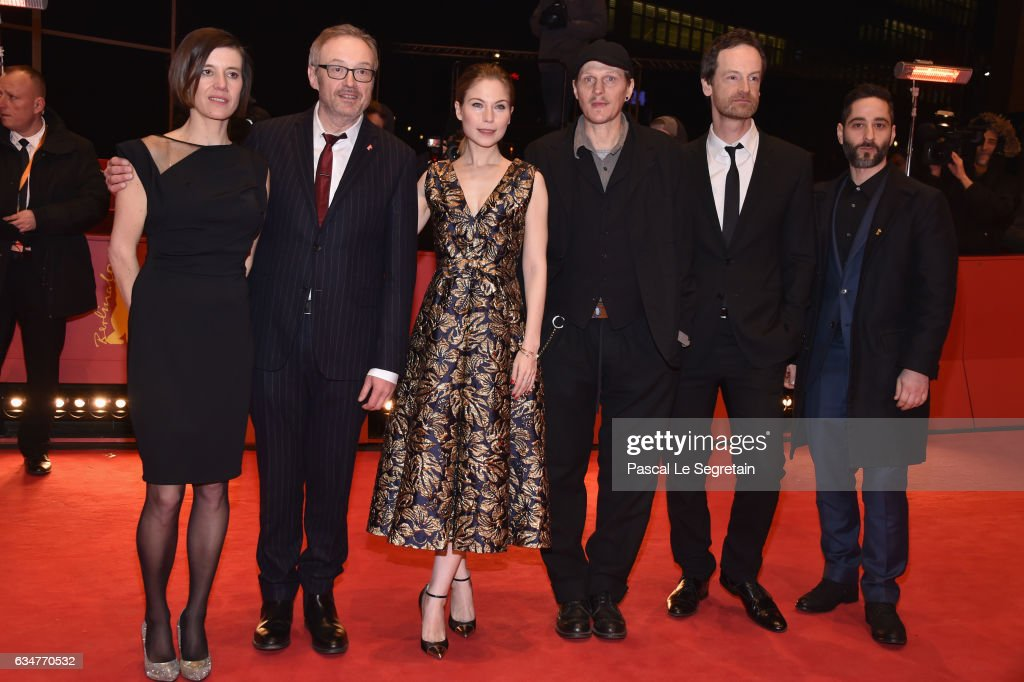 Actress Pia Hierzegger, Film director Josef Hader, actors Nora von Waldstaetten, Georg Friedrich, Joerg Hartmann and Denis Moschitto attend the 'Wild Mouse' (Wilde Maus) premiere during the 67th Berlinale International Film Festival Berlin at Berlinale Palace on February 11, 2017 in Berlin, Germany.