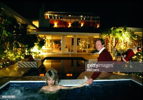 Actress Pia Zadora and her husband multi millionaire Meshulum Riklis in the hot tub of their Beverly Hills home December 18 1981 Los Angeles...