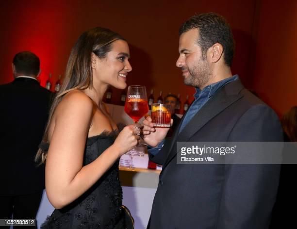 """Actress Pina Turco and director Edoardo De Angelis of the movie """"Il Vizio Della Speranza"""" are seen at the Campari Red Room during the 13th Rome Film..."""