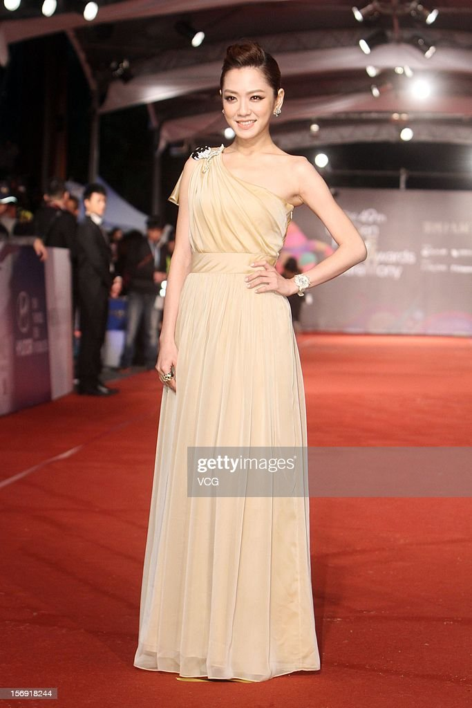 Actress Pink Yang arrives at the red carpet of the 49th Golden Horse Awards at the Luodong Cultural Working House on November 24, 2012 in Ilan, Taiwan.