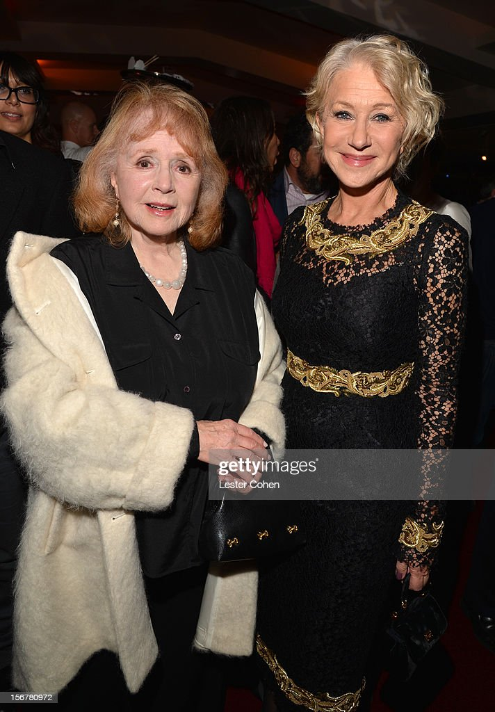 Actress Piper Laurie and Dame Helen Mirren attend the after party for the premiere of Fox Searchlight Pictures' 'Hitchcock' at the Academy of Motion Picture Arts and Sciences Samuel Goldwyn Theater on November 20, 2012 in Beverly Hills, California.