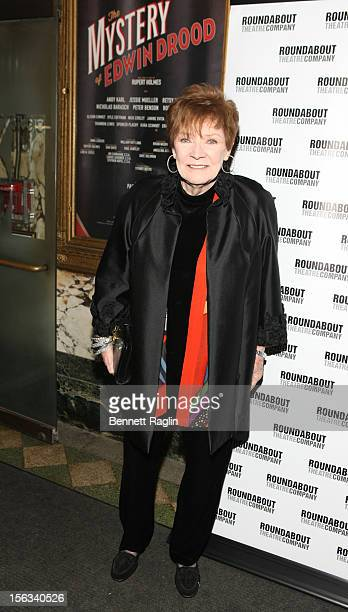 Actress Polly Bergen attends the 'The Mystery Of Edwin Drood' Broadway Opening Night at the Roundabout Theatre Company's Studio 54 on November 13...