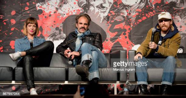 Actress Pollyanna McIntosh actor Steven Ogg and actor Austin Amelio onstage during the 2017 Walker Stalker Con Atlanta at Georgia World Congress...