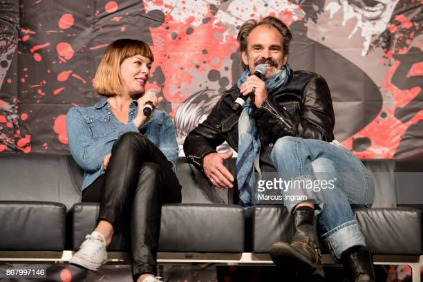 Actress Pollyanna McIntosh and actor Steven Ogg onstage during the 2017 Walker Stalker Con Atlanta at Georgia World Congress Center on October 29...