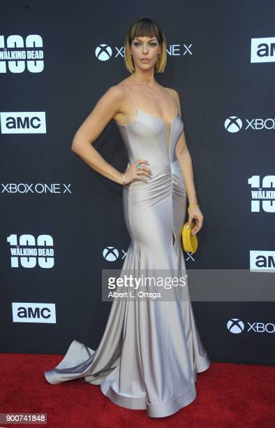Actress Pollyanna McIntosh arrives as AMC celebrates the 100th episode of 'The Walking Dead' held at The Greek Theatre on October 22 s2017 in Los...