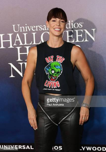 Actress Pollyanna McIntosh attends the opening night celebration of 'Halloween Horror Nights' at Universal Studios CityWalk Cinemas on September 14...