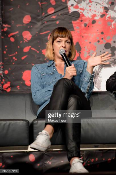 Actress Pollyanna McIntosh speaks onstage during the 2017 Walker Stalker Con Atlanta at Georgia World Congress Center on October 29 2017 in Atlanta...