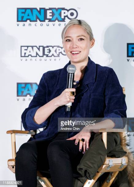 Actress Pom Klementieff speaks on stage during day 2 of Fan Expo Vancouver at Vancouver Convention Centre on March 02 2019 in Vancouver Canada
