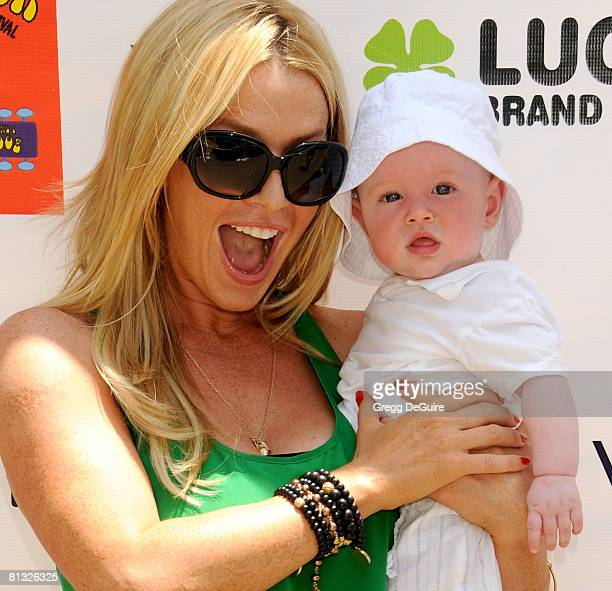 Actress Poppy Montgomery and son Jackson Phillip arrive at the 2nd Annual Kidstock Music And Art Festival on June 1 2008 at Greystone Mansion in...