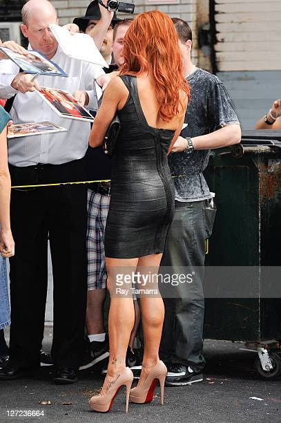 Actress Poppy Montgomery leaves the Late Show With David Letterman taping at the Ed Sullivan Theater on September 26 2011 in New York City