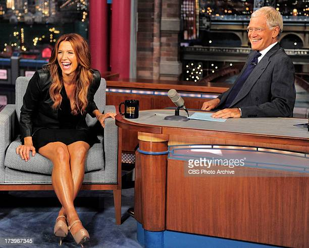 Actress Poppy Montgomery talks with Late Show host David Letterman about the return of her show UNFORGETABLE during Tuesday's 7/16/13 taping in New...