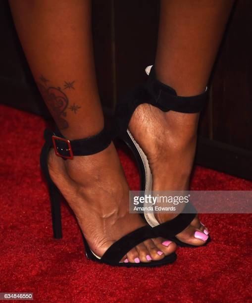 Actress Porscha Coleman shoe detail arrives at the Primary Wave 11th Annual PreGRAMMY Party at The London West Hollywood on February 11 2017 in West...
