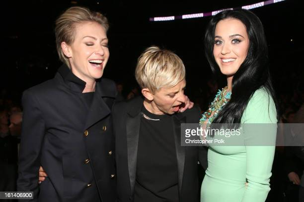 Actress Portia de Rossi, actress Ellen DeGeneres and singer Katy Perry attend the 55th Annual GRAMMY Awards at STAPLES Center on February 10, 2013 in...