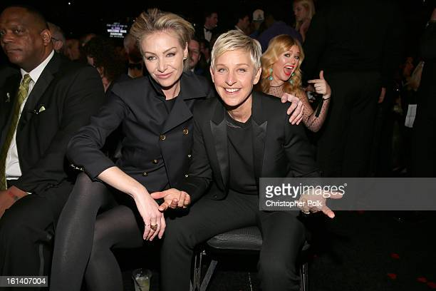 Actress Portia de Rossi and actress Ellen DeGeneres attend the 55th Annual GRAMMY Awards at STAPLES Center on February 10 2013 in Los Angeles...
