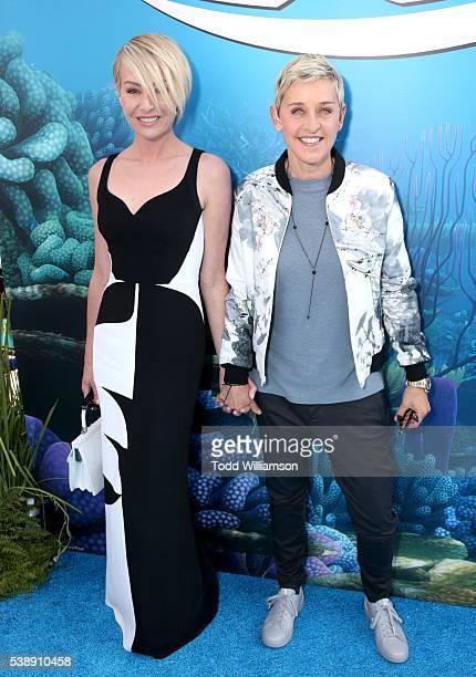 Actress Portia de Rossi and actress Ellen DeGeneres attend the world premiere of DisneyPixar's 'Finding Dory' at the El Capitan Theatre on June 8...