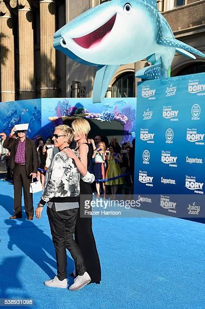 Actress Portia de Rossi and actress Ellen DeGeneres attends the world premiere of DisneyPixar's 'Finding Dory' at the El Capitan Theatre 2016 in...