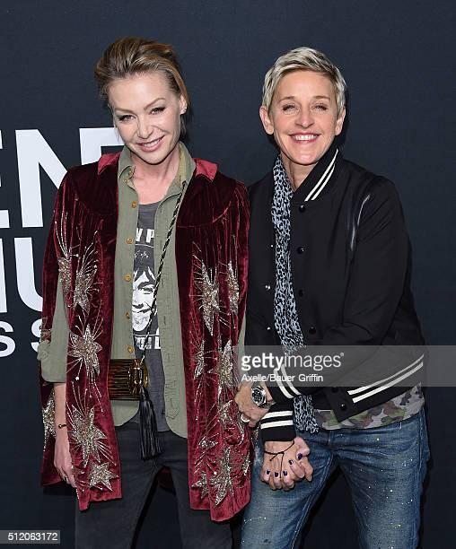Actress Portia de Rossi and comedian Ellen DeGeneres arrive at SAINT LAURENT At The Palladium at Hollywood Palladium on February 10 2016 in Los...